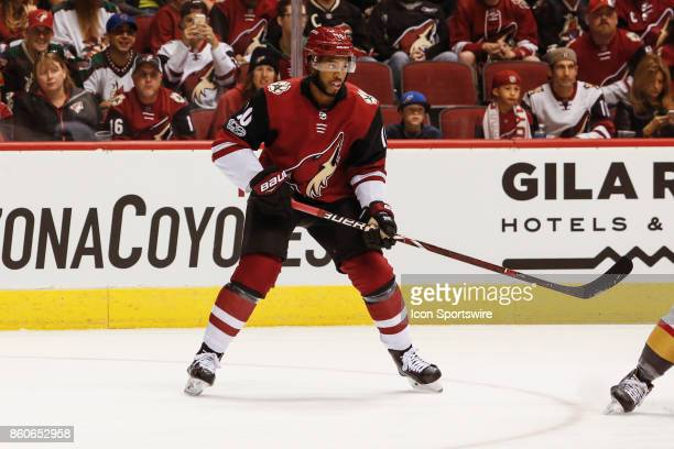 Arizona Coyotes left wing Anthony Duclair sets up on the wing during the NHL hockey game between the Vegas Golden Knights and the Arizona Coyotes on...