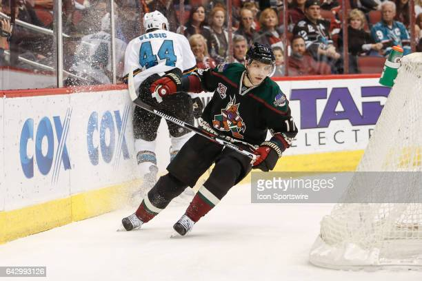 Arizona Coyotes right wing Radim Vrbata skates behind the Shark's net during the NHL hockey game between the San Jose Sharks and the Arizona Coyotes...