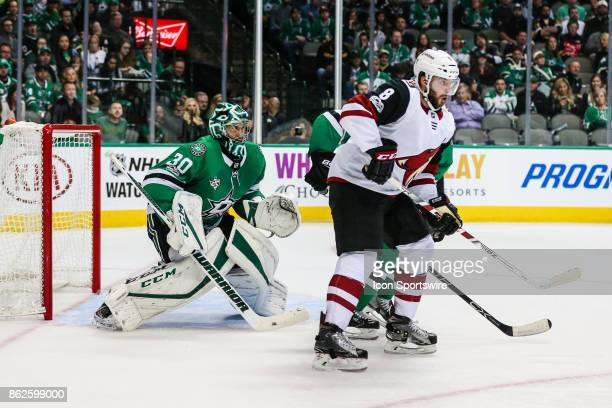 Arizona Coyotes right wing Tobias Rieder sets up in front of Dallas Stars goalie Ben Bishop during the game between the Dallas Stars and the Arizona...