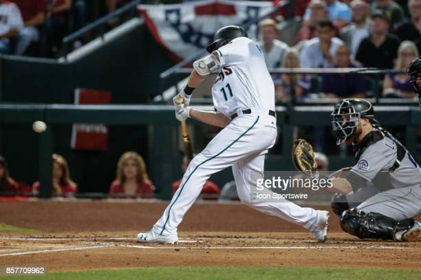 Arizona Diamondbacks center fielder AJ Pollock gets a hit during the MLB National League Wild Card baseball game between the Colorado Rockies and the...