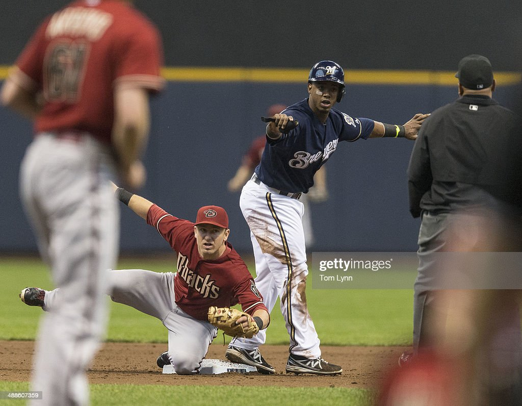 Arizona Diamondbacks Cliff Pennington #4 looks for the call from second base ump Adrian Johnson #80 after tagging Jean Segura #9 of the Milwaukee Brewers at second on a steal attempt at Miller Park on May 7, 2014 in Milwaukee, Wisconsin.
