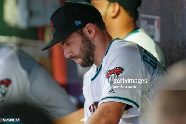 Arizona Diamondbacks first baseman Paul Goldschmidt in deep thought before the MLB National League Wild Card baseball game between the Colorado...