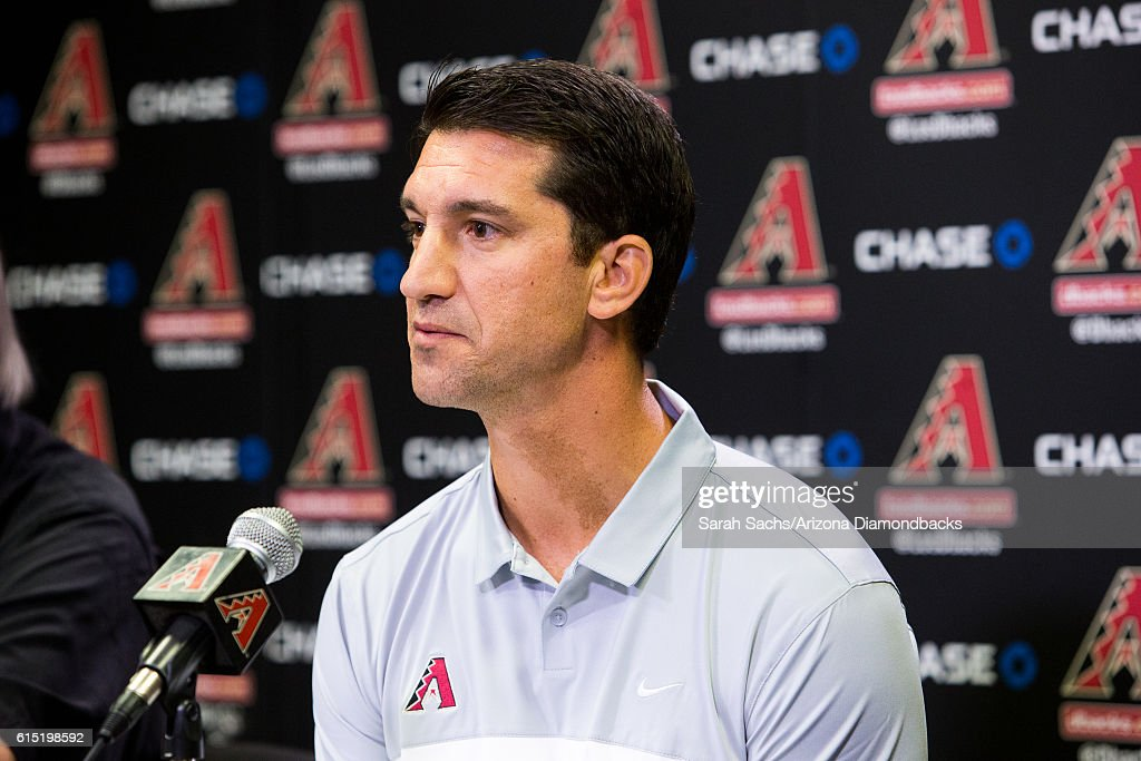 Arizona Diamondbacks General Manager, Mike Hazen, addresses the media during a press conference in regards to his new position on October 17, 2016 in Phoenix, Arizona.