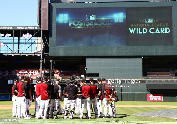 Arizona Diamondbacks hold a team meeting during the team workout on October 2 2017 at Chase Field in Phoenix Arizona