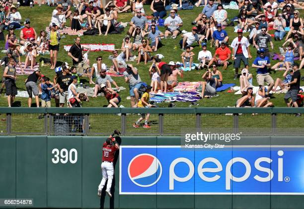 Arizona Diamondbacks left fielder Chris Herrmann and fans watch the home run ball of the Kansas City Royals' Jorge Soler clear the wall in the fifth...