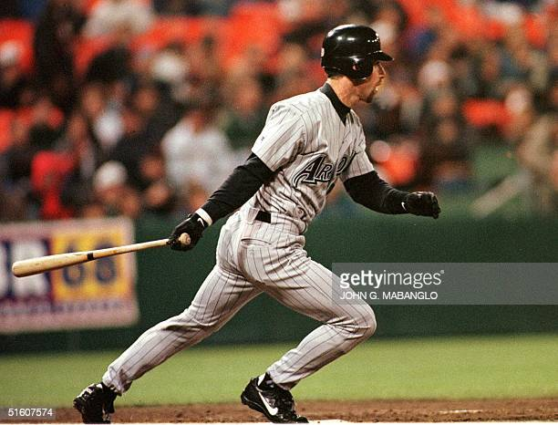 Arizona Diamondbacks Luis Gonzalez follows though with his second hit against the San Francisco Giants 18 May 1999 in San Francisco CA Gonzalez went...