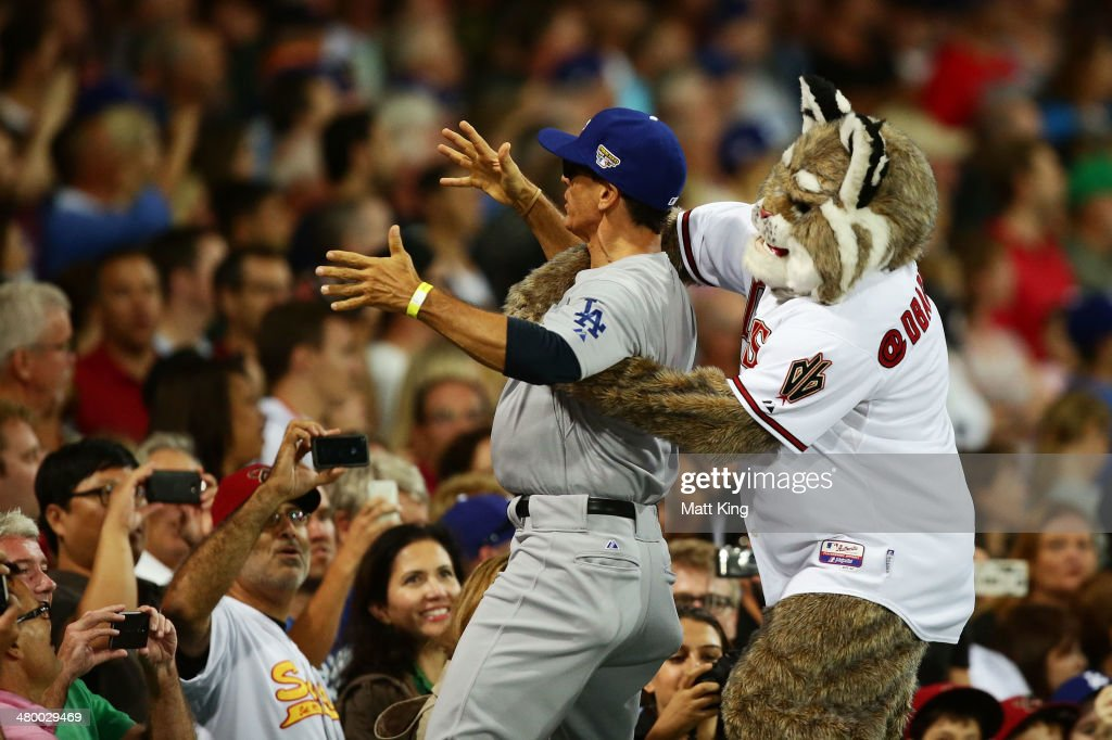 Arizona Diamondbacks mascot Baxter the Bobcat performs during the opening match of the MLB season between the Los Angeles Dodgers and the Arizona Diamondbacks at Sydney Cricket Ground on March 22, 2014 in Sydney, Australia.