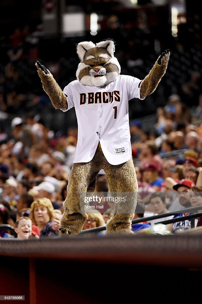 Arizona Diamondbacks mascot D Baxter stands on top of the Philadelphia Phillies dugout at Chase Field on June 27, 2016 in Phoenix, Arizona.