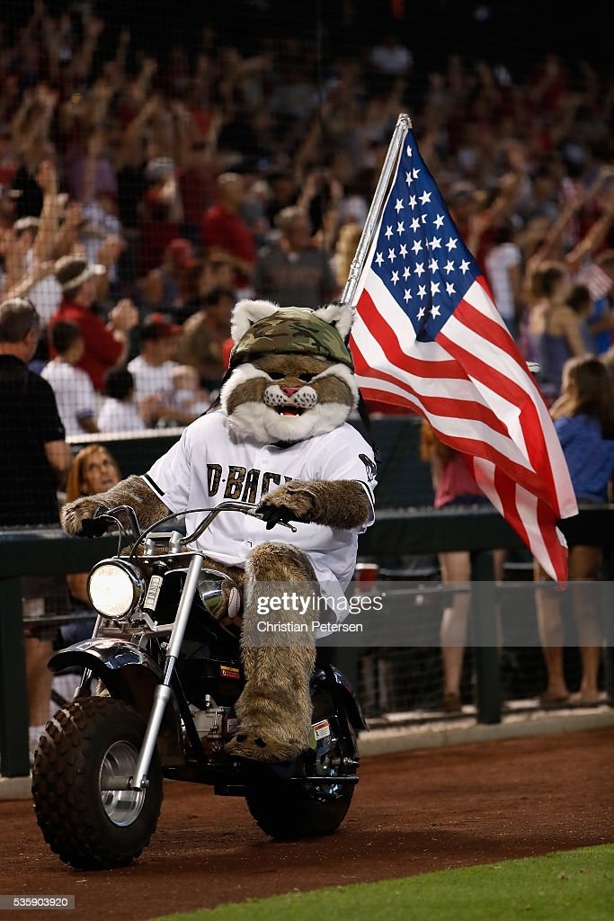 Arizona Diamondbacks mascot, 'D. Baxter the Bobcat' rides a motorcycle with an American flag, in honor of Memorial Day, before the MLB game against the Houston Astros at Chase Field on May 30, 2016 in Phoenix, Arizona.