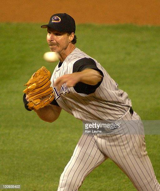 Arizona Diamondbacks pitcher Randy Johnson pitches against the Colorado Rockies Wednesday Sept 24 2003 at Coors Field in Denver Colorado