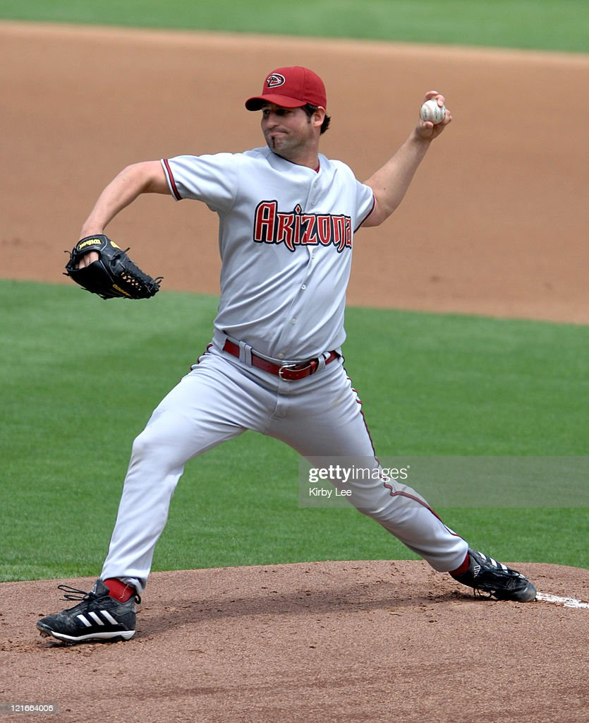 Arizona Diamondbacks starter <a gi-track='captionPersonalityLinkClicked' href=/galleries/search?phrase=Doug+Davis+-+Baseball+Pitcher&family=editorial&specificpeople=15809391 ng-click='$event.stopPropagation()'>Doug Davis</a> pitches during 2-1 loss to the Los Angeles Dodgers at Dodger Stadium in Los Angeles, Calif. on Wednesday, May 2, 2007. Davis (2-3) went seven innings with no earned runs, seven strikeouts and three walks.