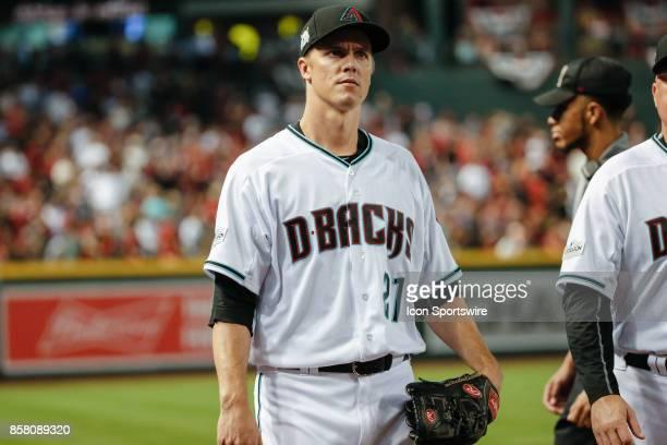Arizona Diamondbacks starting pitcher Zack Greinke looks on before the MLB National League Wild Card baseball game between the Colorado Rockies and...