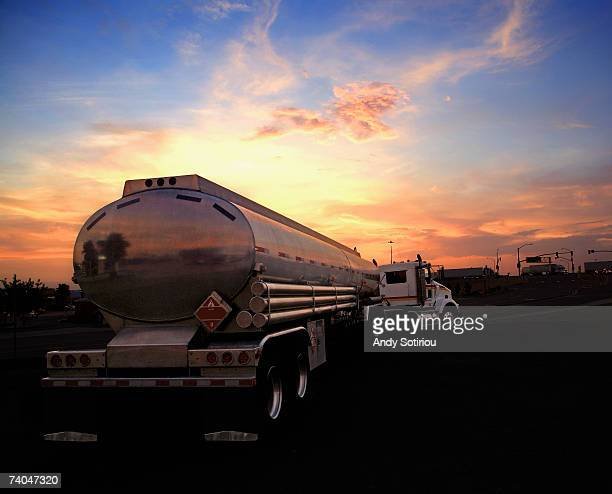 USA, Arizona, fuel tanker truck at sunset