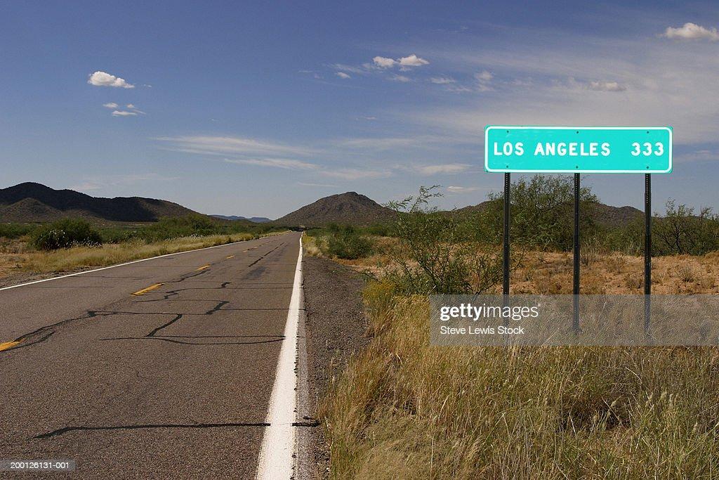 USA, Arizona, highway sign for Los Angeles