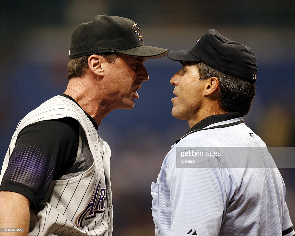 Arizona manager <a gi-track='captionPersonalityLinkClicked' href=/galleries/search?phrase=Bob+Melvin&family=editorial&specificpeople=239192 ng-click='$event.stopPropagation()'>Bob Melvin</a> stands toe to toe with home plate umpire Angel Hernandez after being thrown out during the bottom of the fifth inning of Wednesday night's game against Tampa Bay at Tropicana Field in St. Petersburg, Florida on June 21, 2006.