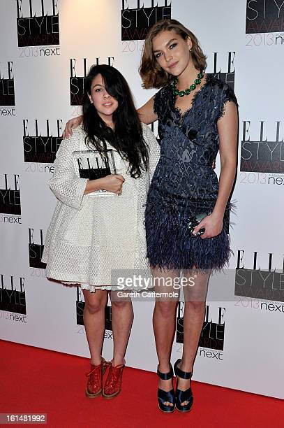 Arizona Muse and Next Young Designer of the Year winner Simone Rocha poses in the press room during the Elle Style Awards at The Savoy Hotel on...