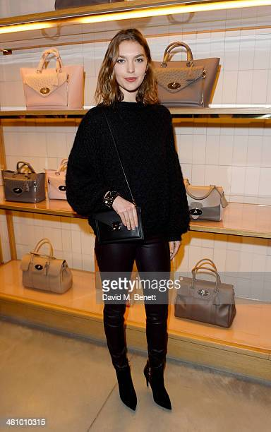 Arizona Muse attends a cocktail party hosted by Mulberry in its flagship store on New Bond Street in celebration of London Collections Mens and...