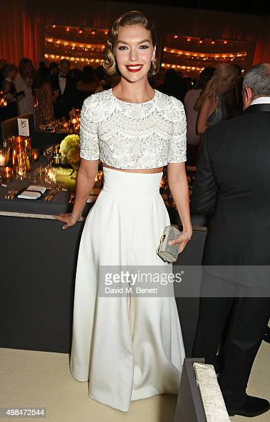 Arizona Muse attends a drinks reception at the British Fashion Awards in partnership with Swarovski at the London Coliseum on November 23 2015 in...