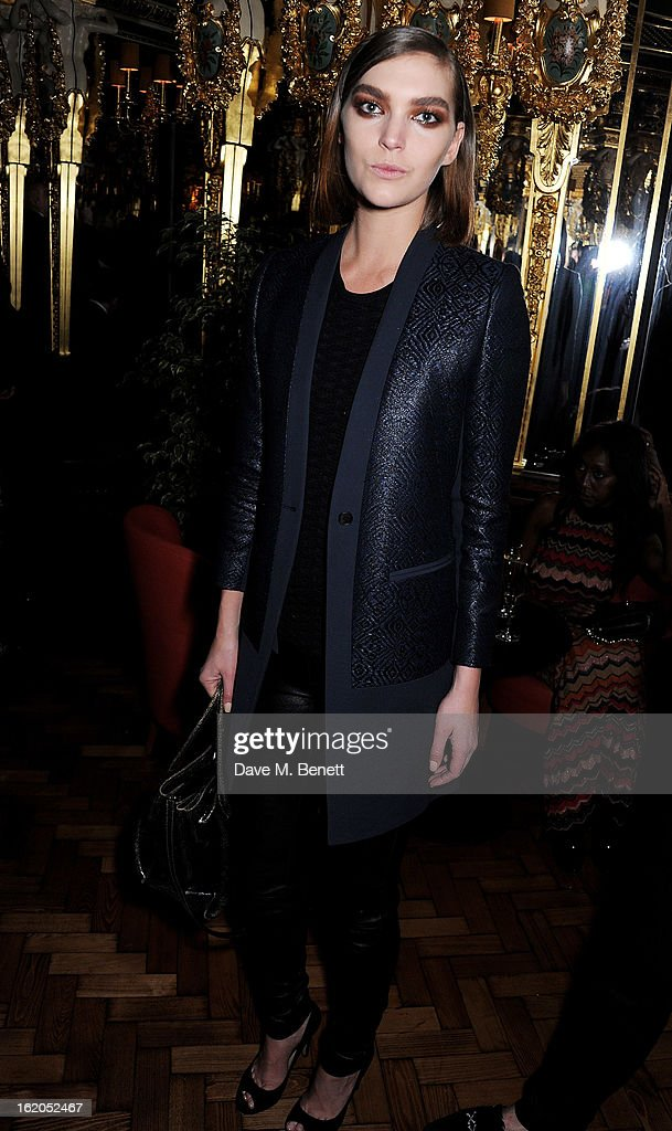 Arizona Muse attends the AnOther Magazine and Dazed & Confused party with Belvedere Vodka at the Cafe Royal hotel on February 18, 2013 in London, England.