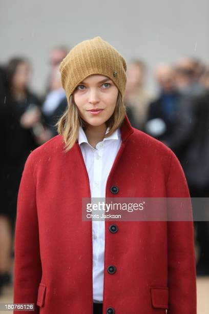 Arizona Muse attends the Burberry Prorsum show at London Fashion Week SS14 at Kensington Gardens on September 16 2013 in London England