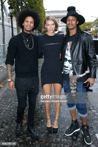 Arizona Muse Laurent Bourgeois and Larry Bourgeois attend 'Le Defile L'Oreal Paris show' as part of the Paris Fashion Week Womenswear Spring/Summer...