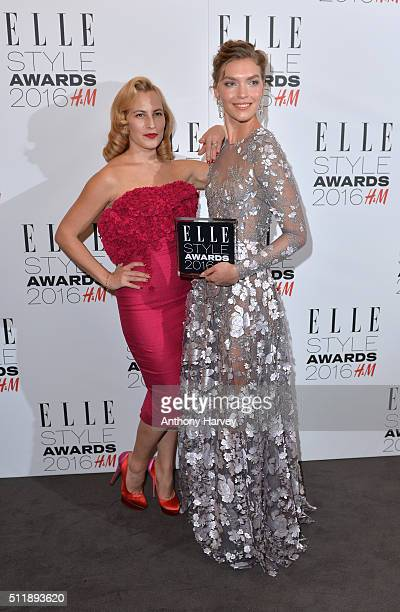 Arizona Muse poses with her award for Fashion Director's Woman of The Year with Charlotte Olympia in the winners room at The Elle Style Awards 2016...