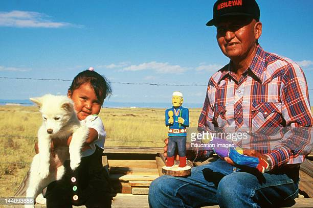 Arizona Navajo Reservation American Indian Carver With Granddaughter