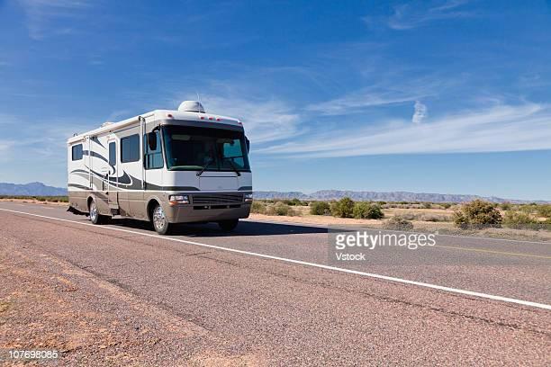 USA, Arizona, Phoenix, Mobile home on desert road