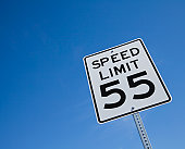 USA, Arizona, Phoenix, Speed limit sign against blue sky