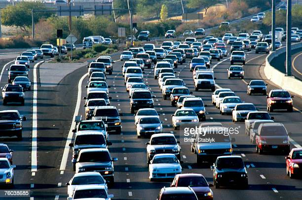 USA, Arizona, Phoenix, traffic on congested freeway, elevated view