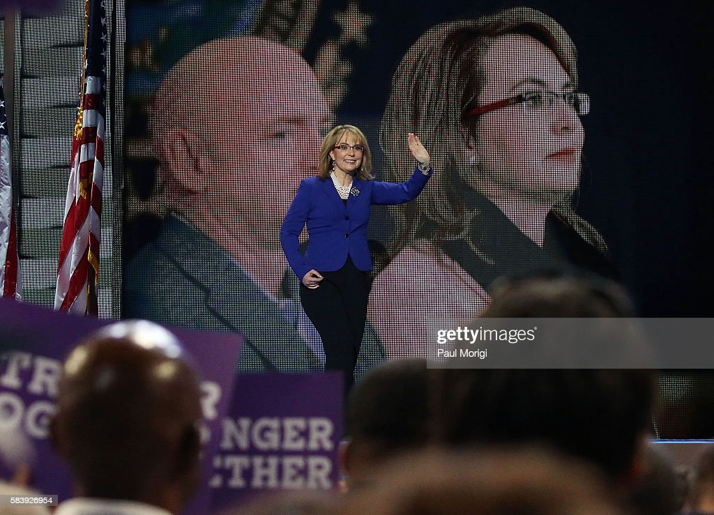 Arizona representative Gabby Giffords arrives onstage on the third day of the Democratic National Convention at the Wells Fargo Center on July 27, 2016 in Philadelphia, Pennsylvania. An estimated 50,000 people are expected in Philadelphia, including hundreds of protesters and members of the media. The four-day Democratic National Convention kicked off July 25.