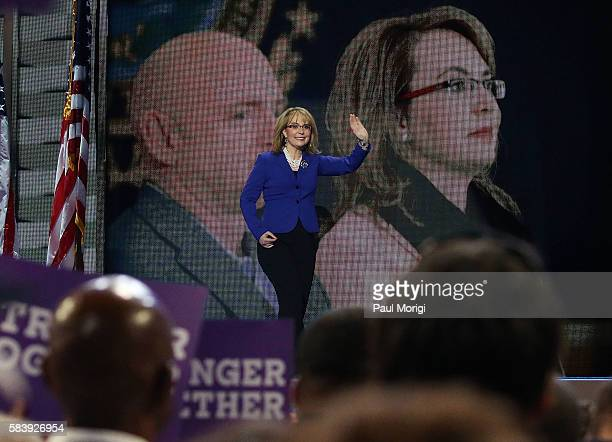 Arizona representative Gabby Giffords arrives onstage on the third day of the Democratic National Convention at the Wells Fargo Center on July 27...