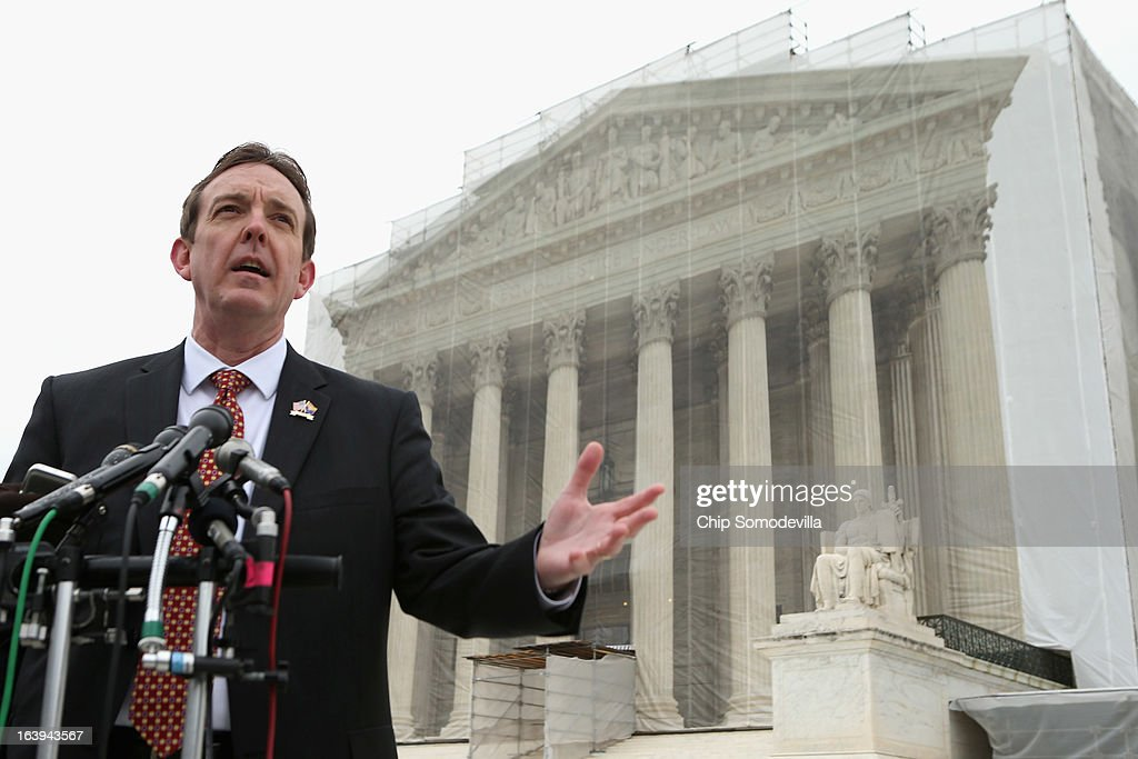 Arizona Secretary of State Ken Bennett talks with reporters outside the U.S. Supreme Court after attending oral arguements in Arizona v. Inter Tribal Council et al. March 18, 2013 in Washington, DC. The court is hearing arguments about the constitutionality of an Arizona law requiring applicants to prove their citizenship before registering to vote under the federal National Voter Registration Act.