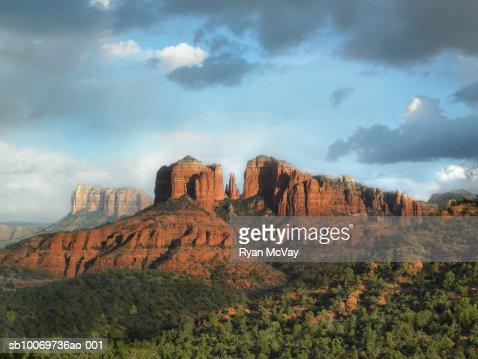 USA, Arizona, Sedona, Rock formation at dusk : Stock Photo