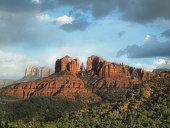 USA, Arizona, Sedona, Rock formation at dusk