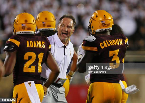 Arizona State defensive coordinator Phil Bennett gives instructions to his team as they come off the field during the Texas Tech Raider's 5245...