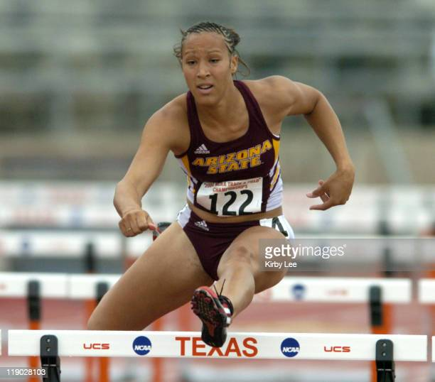 Arizona State freshman Jaquelyn Johnson wins women's 100meter heptathlon heat in 1352 seconds in the NCAA Track Field Championships at the University...