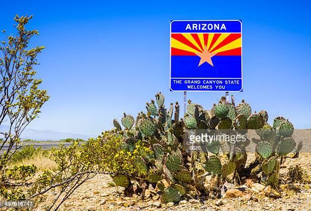 Arizona State highway willkommen Schild mit Kaktus, Berge und sky