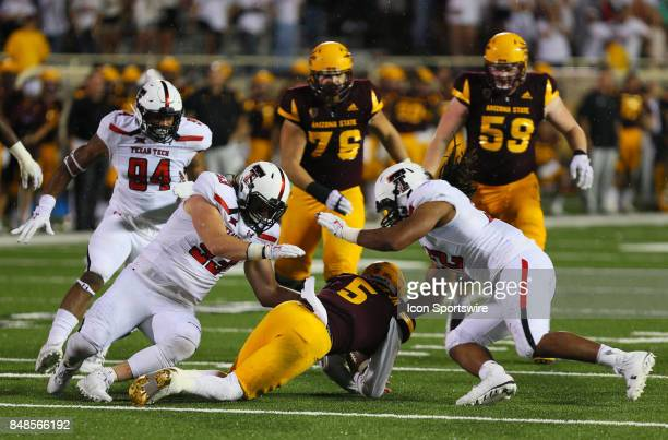 Arizona State quarterback Manny Wilkins is sacked during the Texas Tech Raider's 5245 victory over the Arizona State Sun Devils on September 16 2017...
