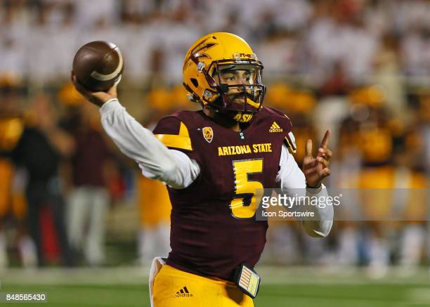 Arizona State quarterback Manny Wilkins throws the ball during the Texas Tech Raider's 5245 victory over the Arizona State Sun Devils on September 16...