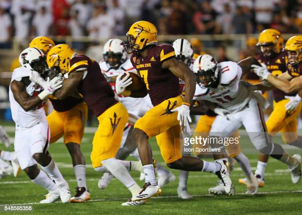 Arizona State running back Kalen Ballage carries the ball during the Texas Tech Raider's 5245 victory over the Arizona State Sun Devils on September...