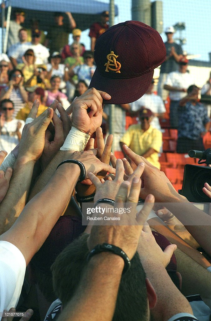 Arizona State Sun Devils celebrate their trip to the College World Series after a 9 to 8 victory in the NCAA Fullerton SuperRegional of the 4th...