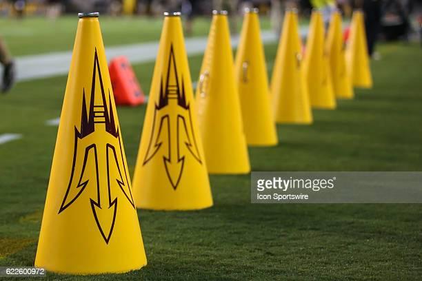 Arizona State Sun Devils cheerleader megaphones before the NCAA football game between the Utah Utes and the Arizona State Sun Devils on November 10...