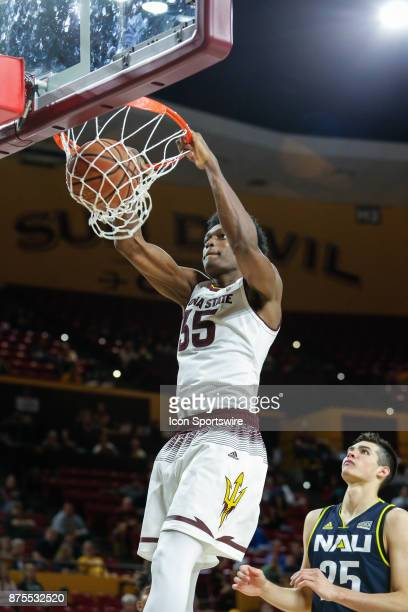 Arizona State Sun Devils forward De'Quon Lake dunks the ball during the college basketball game between the Northern Arizona Lumberjacks and the...