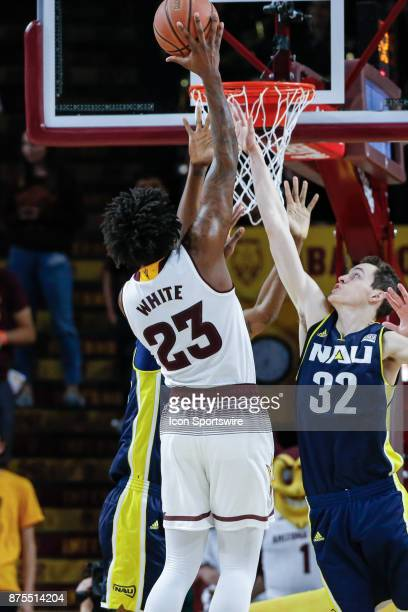 Arizona State Sun Devils forward Romello White goes up for a shot during the college basketball game between the Northern Arizona Lumberjacks and the...