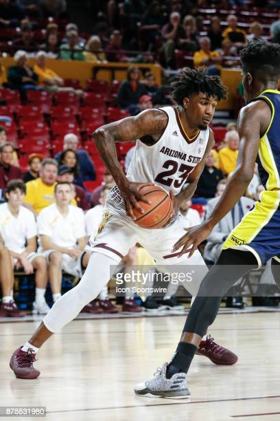 Arizona State Sun Devils forward Romello White looks to drive the lane during the college basketball game between the Northern Arizona Lumberjacks...
