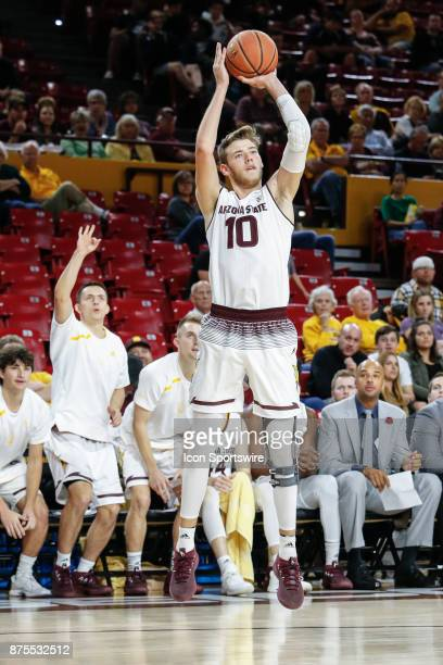 Arizona State Sun Devils forward Vitaliy Shibel shoots a three pointer during the college basketball game between the Northern Arizona Lumberjacks...