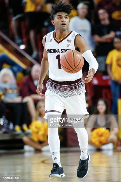 Arizona State Sun Devils guard Remy Martin moves the ball up court during the college basketball game between the Northern Arizona Lumberjacks and...