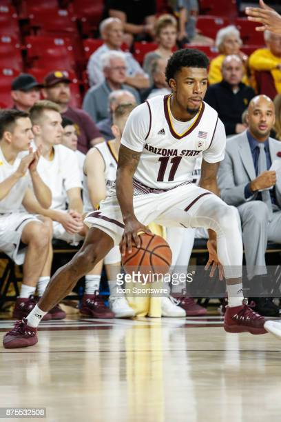Arizona State Sun Devils guard Shannon Evans II dribbles the ball during the college basketball game between the Northern Arizona Lumberjacks and the...