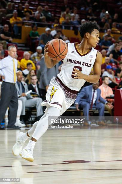 Arizona State Sun Devils guard Tra Holder dribbles the ball during the college basketball game between the Northern Arizona Lumberjacks and the...
